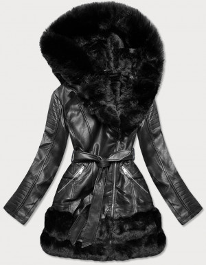 Černá bunda ramoneska s kožešinovou podšívkou (B9736) černá S (36)