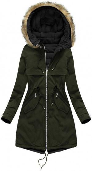 Khaki-černá oboustranná bunda s kapucí (W212BIG) khaki