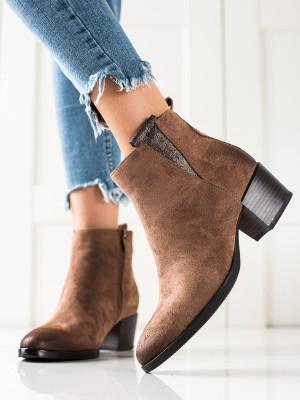 Luxusní  kotníčkové boty hnědé dámské na širokém podpatku
