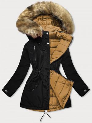 Černo-karamelová oboustranná dámská zimní bunda (W557-1BIG) Hnědá