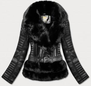 Černá prošívaná bunda ramoneska s kožešinovým límcem (5522) černá S (36)