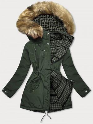 Oboustranná dámská zimní bunda v khaki barvě (W557BIG) khaki