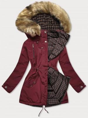 Bordó-hndědá oboustranná dámská zimní bunda (W557BIG) kaštanové