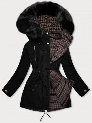 Černo-hnědá oboustranná dámská zimní bunda (W557BIG) černá