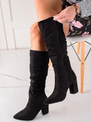 Luxusní  kozačky dámské černé na širokém podpatku