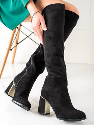 Luxusní černé dámské  kozačky na širokém podpatku