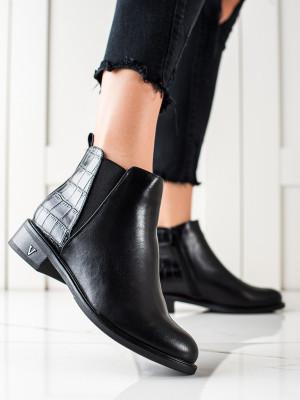 Stylové dámské  kotníčkové boty černé na plochém podpatku
