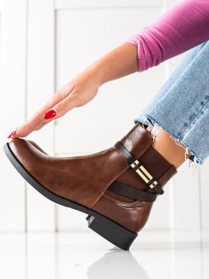 Designové dámské hnědé  kotníčkové boty na plochém podpatku