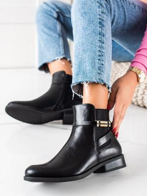 Luxusní dámské  kotníčkové boty černé na plochém podpatku
