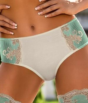Dámské kalhotky Caryca pants ecru krémová-tyrkysová