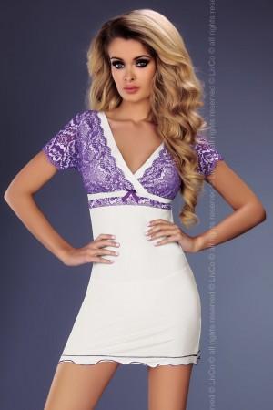 Dámská košilka Trudy bílá-fialová S/M