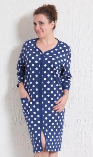 Dámské domácí šaty s tříčtvrtečním rukávem Puntík tmavě modrá 1XL