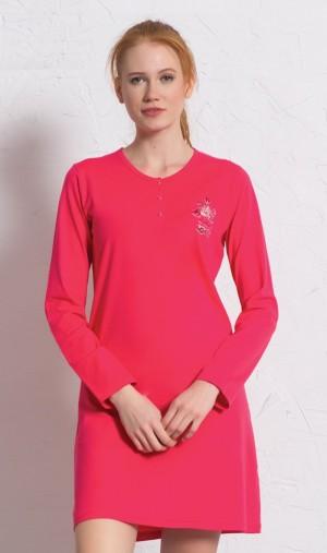 Dámská noční košile s dlouhým rukávem Julie jahodová