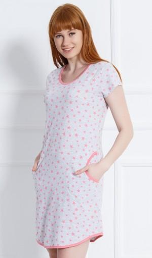 Dámské domácí šaty s krátkým rukávem Stars šedá/lososová