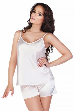 Dámské saténové pyžamo Classic bílé