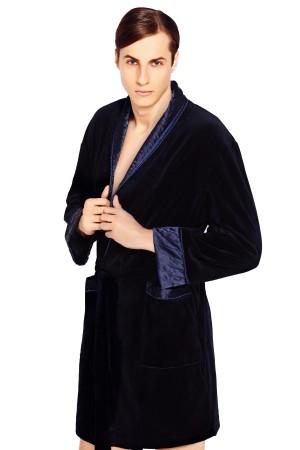 Luxusní pánský župan Bonjour temně modrý  XL