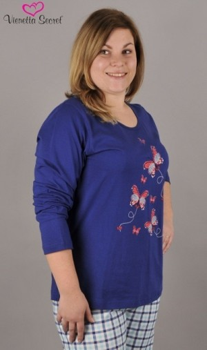 Dámské pyžamo dlouhé Olga modrá/růžová 1XL