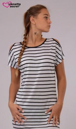 Dámská noční košile s krátkým rukávem Elizabet bílá/černá