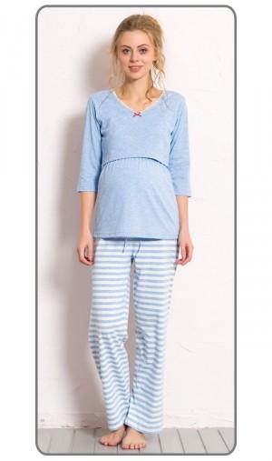 Dámské pyžamo dlouhé mateřské Lenka světle modrá