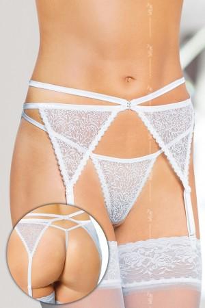 Erotický podvazkový pás 3318 white bílá S/M