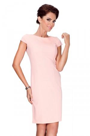 Broskvové elegantní šaty s krátkými rukávy 37-1  Varianta: