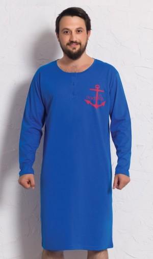 Pánská noční košile s dlouhým rukávem Kotva tmavě modrá