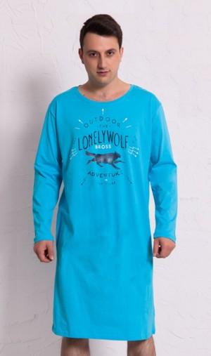 Pánská noční košile s dlouhým rukávem Vlk světle modrá