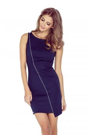 Tmavě modré asymetrické šaty s lemem MM 004-2  Varianta: