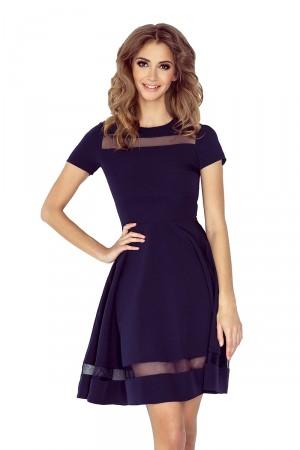 Tmavě modré šaty s tylovými pruhy MM 003-2  Varianta: