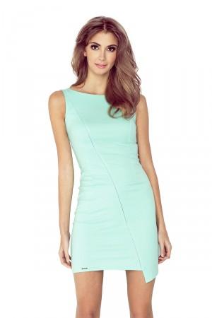 Mátově zelené aymetrické šaty s lemem MM 004-3 Varianta: