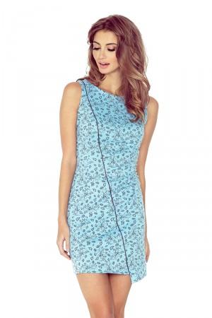 Modré asymetrické šaty s květy MM 004-5  Varianta: