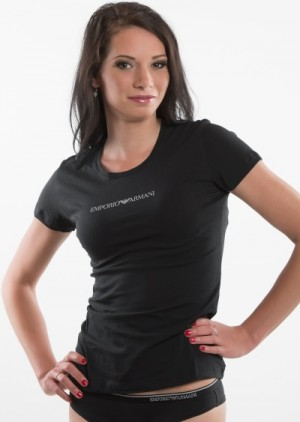 Dámské tričko Emporio Armani 163320 CC317 černá XL Bílá