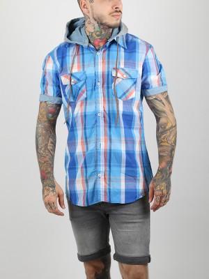 Košile Alcott HOODY SHORT SLEEVES WITH CHECKS Modrá