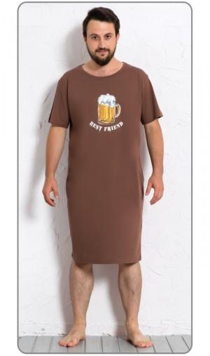 Pánská noční košile s krátkým rukávem Velké pivo hnědá