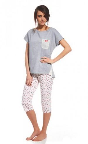 Cornette Nelly 054/105 Dámské pyžamo L šedo-růžová