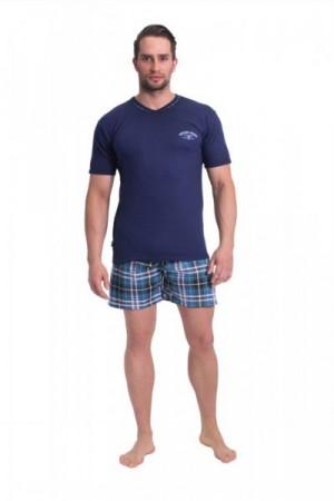 Pánské pyžamo krátké Pablo XXL tmavě modrá/vzor
