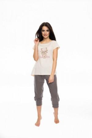 Rossli SAL-PY-1052 Dámské pyžamo XL béžovo-hnědá