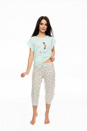 Rossli SAL-PY-1056 Dámské pyžamo XL ecru-máta