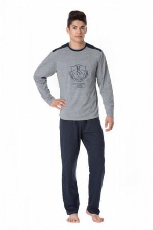 Pánské pyžamo Rossli SAM-PY-099 XXL šedá-tmavě modrá