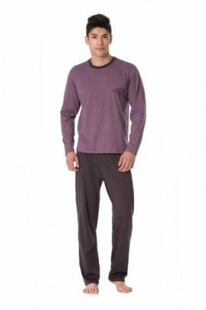 Pánské pyžamo Rossli SAM-PY-104 I XXL růžovo-grafitová (tmavě šedá)