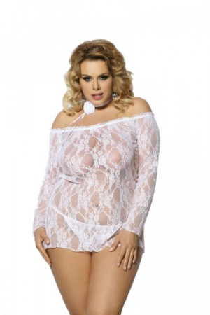 Angels Never Sin Cobayo Košilka Size Plus XL/XXL bílá