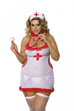 Angels Never Sin Shane Sestřička Erotický kostým Size Plus XL/XXL bílo-červená