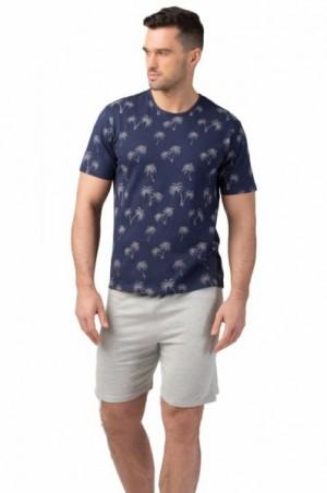 Rossli 109 pánské pyžamo krátké tm.modré XXL tmavě modrá/vzor