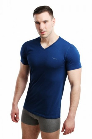 Pierre Cardin Vneck tmavě modrý Pánské triko XXL tmavě modrá