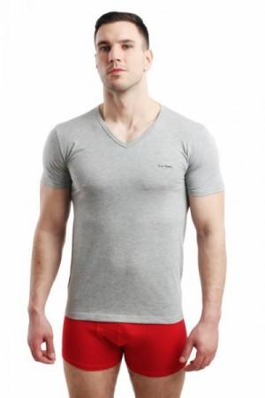 Pierre Cardin Vneck šedý Pánské triko XXL  šedá